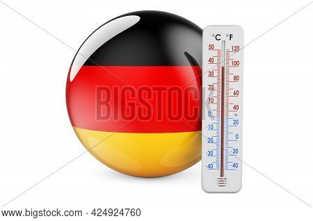 Thermometer With German Flag. Heat In Germany Concept. 3d Rendering Isolated On White Background