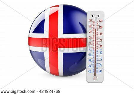 Thermometer With Icelandic Flag. Heat In Iceland Concept. 3d Rendering Isolated On White Background