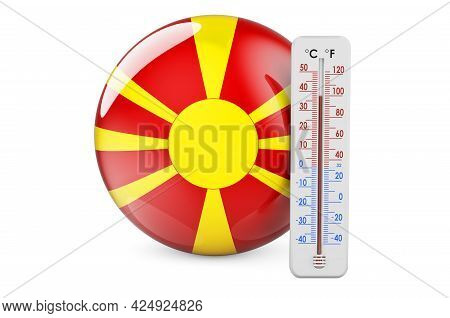 Thermometer With Macedonian Flag. Heat In Macedonia Concept. 3d Rendering Isolated On White Backgrou