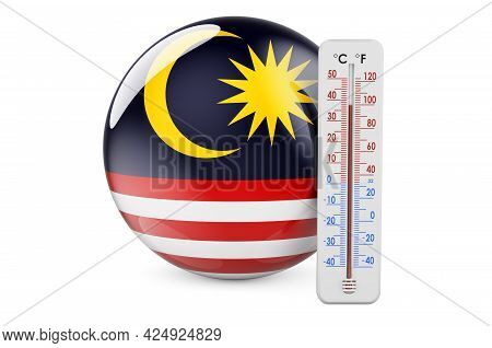 Thermometer With Malaysian Flag. Heat In Malaysia Concept. 3d Rendering Isolated On White Background