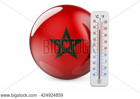 Thermometer With Moroccan Flag. Heat In Morocco Concept. 3d Rendering Isolated On White Background