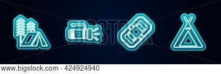 Set Line Tourist Tent, Flashlight, Rafting Boat And . Glowing Neon Icon. Vector