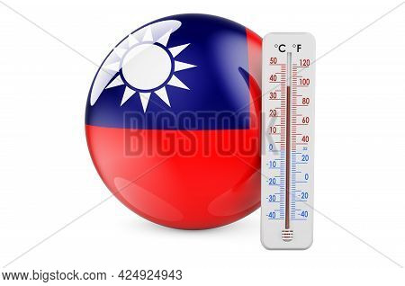 Thermometer With Taiwanese Flag. Heat In Taiwan Concept. 3d Rendering Isolated On White Background