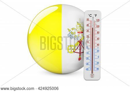 Thermometer With Vatican Flag. Heat In Vatican Concept. 3d Rendering Isolated On White Background