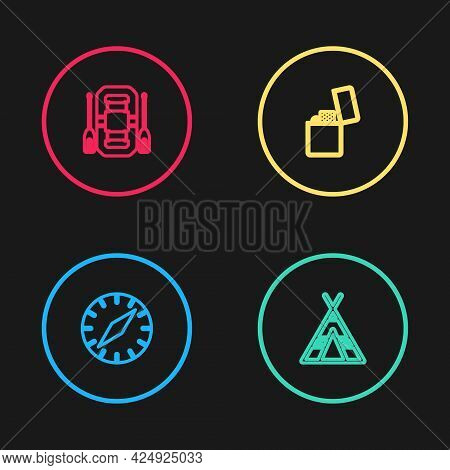 Set Line Compass, Tourist Tent, Lighter And Rafting Boat Icon. Vector