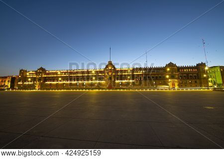 Zocalo Constitution Square And National Palace At Sunrise Twilight, Mexico City Cdmx, Mexico. Histor