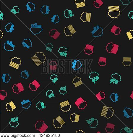 Set Line Windy Weather, Cloud With Snow, Fog And Cloud And Rain On Seamless Pattern. Vector