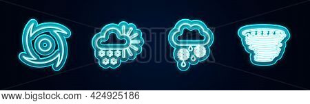 Set Line Tornado, Cloudy With Snow, And Rain And . Glowing Neon Icon. Vector
