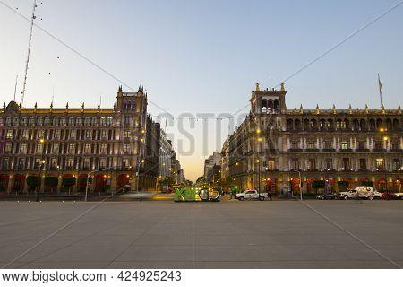 Mexico City - Jan. 14, 2020: Federal District Buildings And Avenida 20 De Noviembre On Zocalo Consti
