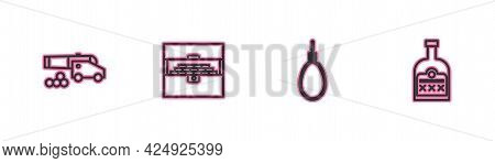 Set Line Cannon With Cannonballs, Gallows Rope Loop Hanging, Antique Treasure Chest And Alcohol Drin