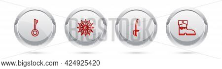 Set Line Pirate Key, Ship Steering Wheel, Sword And Leather Pirate Boots. Silver Circle Button. Vect