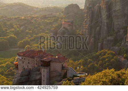 Rousanou Monastery In Meteora Valley, Kalambaka, Greece