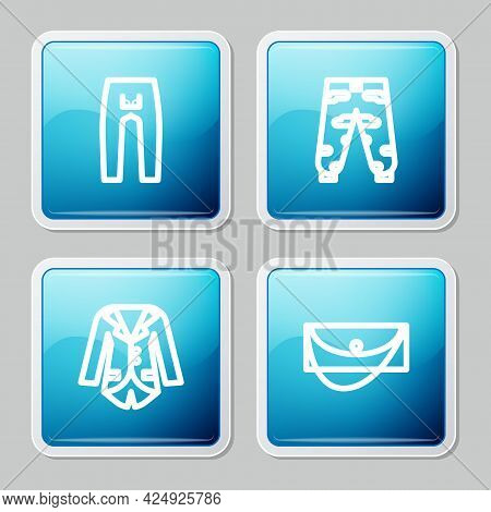 Set Line Pants, Camouflage Cargo Pants, Blazer Or Jacket And Clutch Bag Icon. Vector