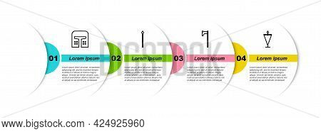 Set Line Medieval Iron Helmet, Spear, Axe And Flag. Business Infographic Template. Vector