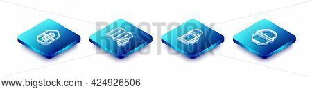 Set Isometric Line Rafting Boat, Location Of The Forest, Thermos Container And Camping Pot Icon. Vec
