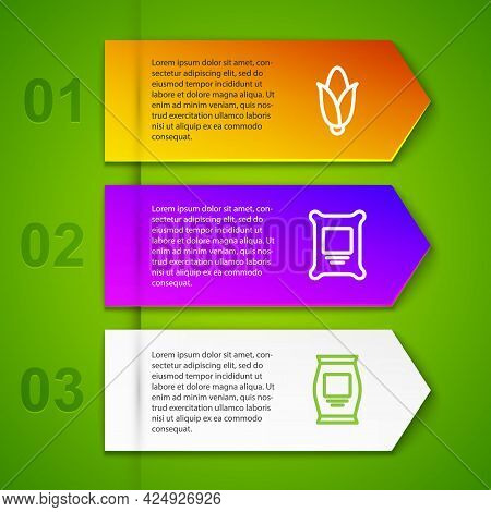 Set Line Corn, Fertilizer Bag, And Carrot. Business Infographic Template. Vector