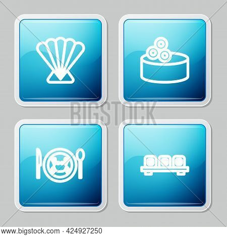 Set Line Scallop Sea Shell, Tin Can With Caviar, Served Crab On Plate And Sushi Cutting Board Icon.