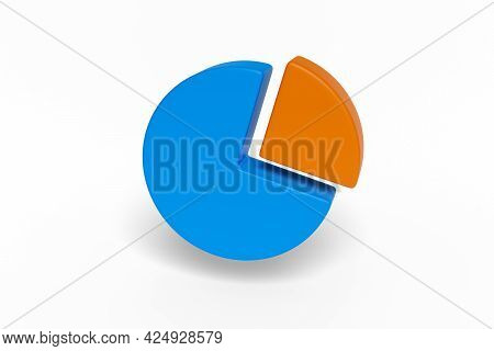 Pie Chart Isolated In White Background. 3d Illustration.