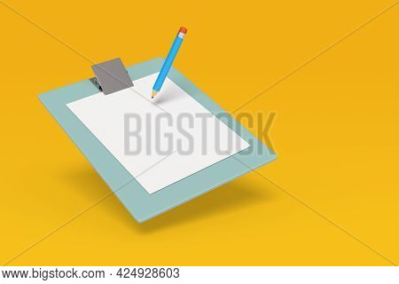 Pencil On A Clip Board Isolated In Yellow Background. 3d Illustration.