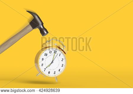 Hammer Hitting An Alarm Clock With Motion Blur And Copy Space. 3d Illustration.