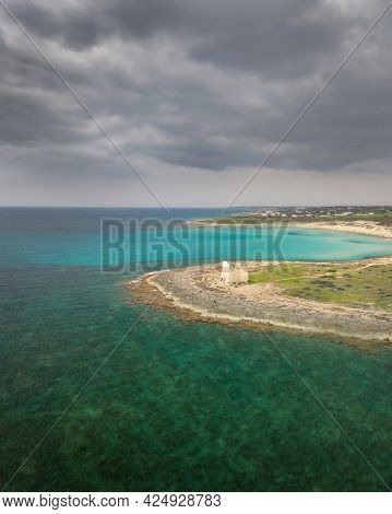 Medieval Tower On The Sea, Puglia, Italy. Aerial Landscape