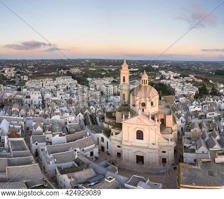 Aerial View Of Locorotondo City, Italy, Puglia