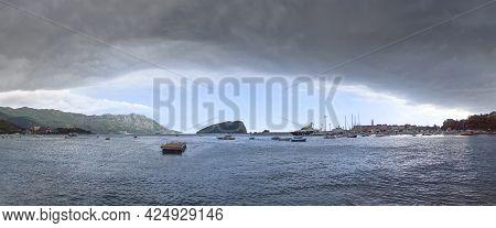 Panorama Of The Budva Bay. Budva, Montenegro.