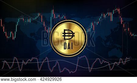 Abstract Futuristic Technology Background Of Dai Stable Coin Digital Cryptocurrency And Stochastic M