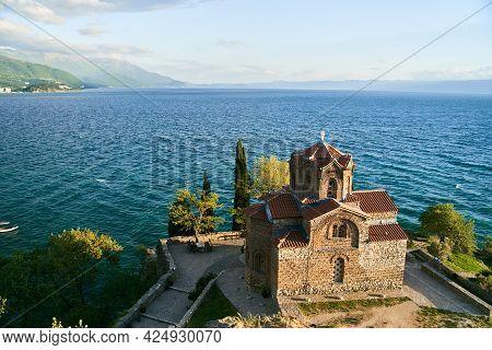 Church Of St. John The Theologian At Kaneo, Panoramic View At Sunset, Ohrid, North Macedonia