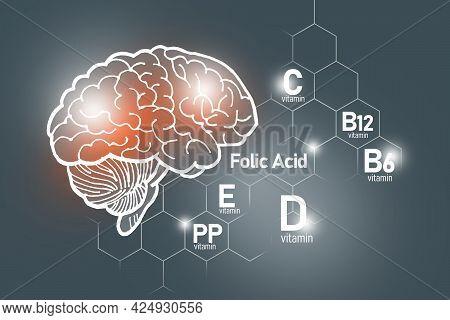 Essential Nutrients For Brain Health Including Vitamin C, Vitamin B, Folic Acid, Vitamin Pp. Design