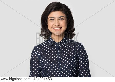 Headshot Portrait Of Smiling Indian Woman Pose In Studio