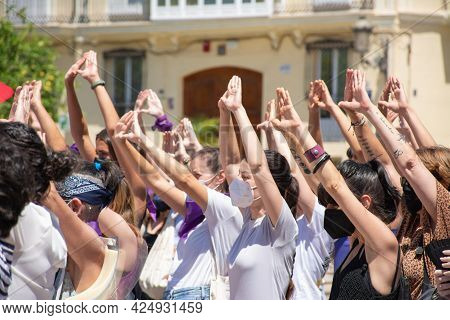 Valencia Spain. June 26, 2021 - A Group Of Women Making A Feminist Symbol With Their Hands In A Mani