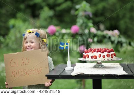 Glad Midsommar Meaning Happy Midsummer In Swedish. Girl Holding Sign Saying
