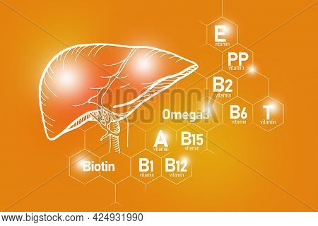 Essential Nutrients For Liver Health Including Omega-3, Biotin, Vitamin Pp, Vitamin B. Design Set Of