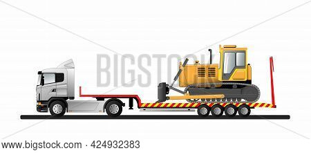 Image Of A Modern European Low Loader Semi-trailer With Cargo. Goose Bulldozer. Transportation Of Co