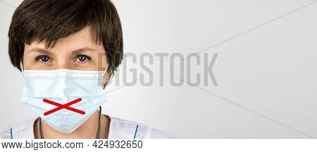 Medical Secrecy And Nondisclosure Of Diagnosis Concept. Woman Doctor In Mask With Taped Lips, White