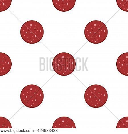 Salami Seamless Pattern, Sausage Slices, Pattern With Slice Of Sausage Salami On White Background