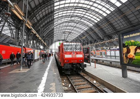 FRANKFURT AM MAIN, GERMANY -17 MARCH, 2018- View of a S Bahn train from DB in Frankfurt AM central station, Is most busiest station in Germany.
