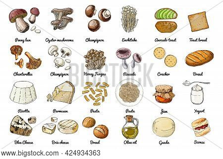 Vector Food Icons. Colored Sketch Of Food Products. Mushrooms, Cheeses, Pasta, Bread, Butter, Yogurt