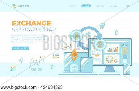 Cryptocurrency Exchange And  Blockchain. Bitcoin, Ethereum To Dollars, Exchange Platform. Money Mark