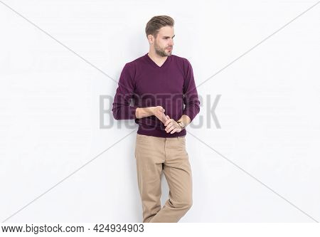 Worn By Some Of The Most Stylish Men. Stylish Guy Isolated On White. Casual Style. Fashion Trend