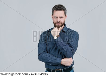 Middle-aged Unshaven Man With Serious Look Touch Beard Hair In Casual Fashion Style, Bearded.