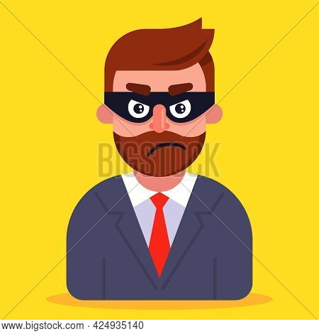 A Fraudster In A Business Suit And A Mask Hiding His Face. Flat Vector Illustration.