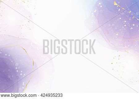 Abstract Purple Liquid Watercolor Background With Golden Stain And Lines. Violet Geode Hand Drawn Fl