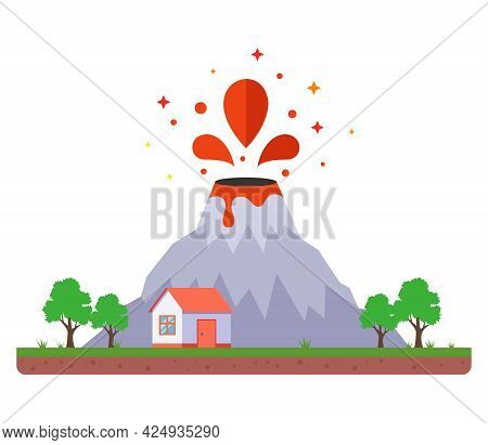 Volcanic Eruption Dangerously Close To Home. Flat Vector Illustration.