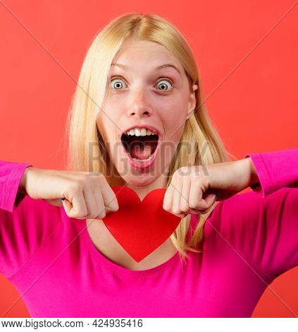 Beautiful Girl Tearing Red Paper Heart. Break Of Relations. Relationships Problems. Unrequited Love.