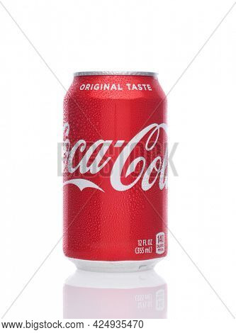 IRVINE, CALIFORNIA - 26 JUNE 2021: A 12 ounce can of Coca-Cola. Coke is the one of the worlds favorite carbonated beverages.