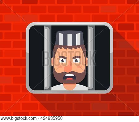 The Criminal Is Sitting In Jail And Looking Out The Window. Flat Vector Illustration.