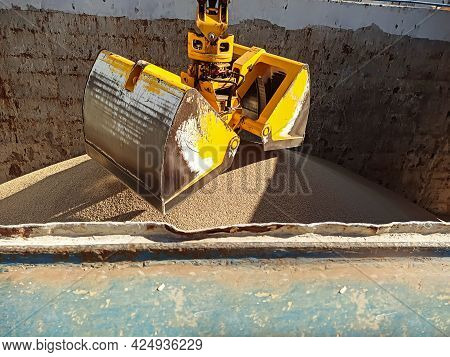Loading And Unloading Of Bulk Cargo For Export By Sea. Sea Transportation Of Agricultural Cargo. A C