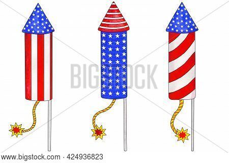 Three Watercolor Firecrackers In American Flag Colors. Traditional Colors Of 4th Of July, Independen